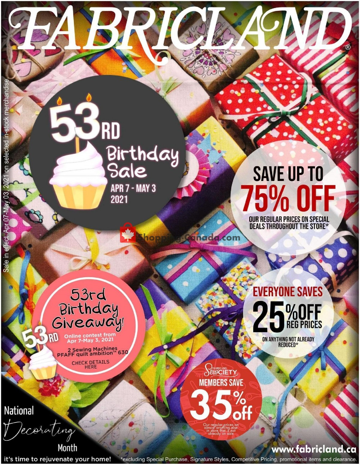 Flyer Fabricland Canada - from Wednesday April 7, 2021 to Monday May 3, 2021