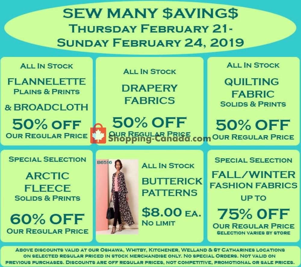 Flyer Fabricland Canada - from Thursday February 21, 2019 to Sunday February 24, 2019