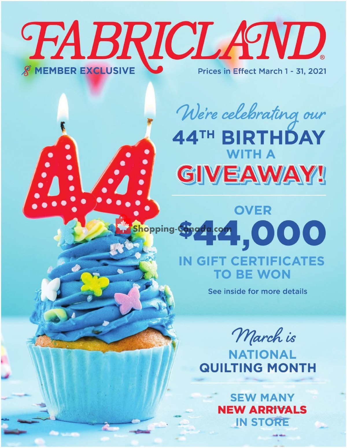 Flyer Fabricland Canada - from Monday March 1, 2021 to Wednesday March 31, 2021