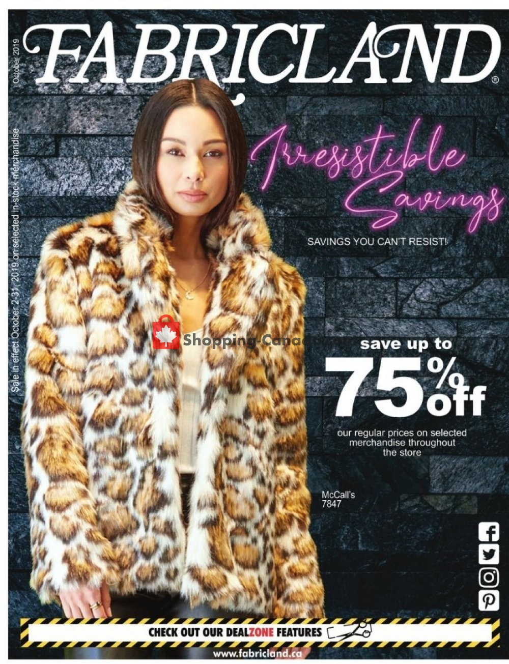 Flyer Fabricland Canada - from Wednesday October 2, 2019 to Thursday October 31, 2019