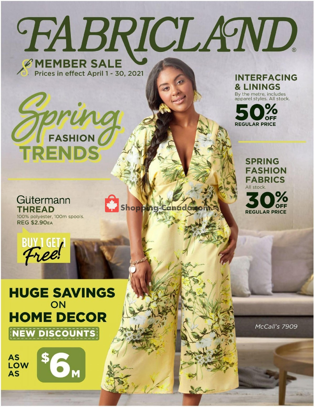 Flyer Fabricland Canada - from Thursday April 1, 2021 to Friday April 30, 2021