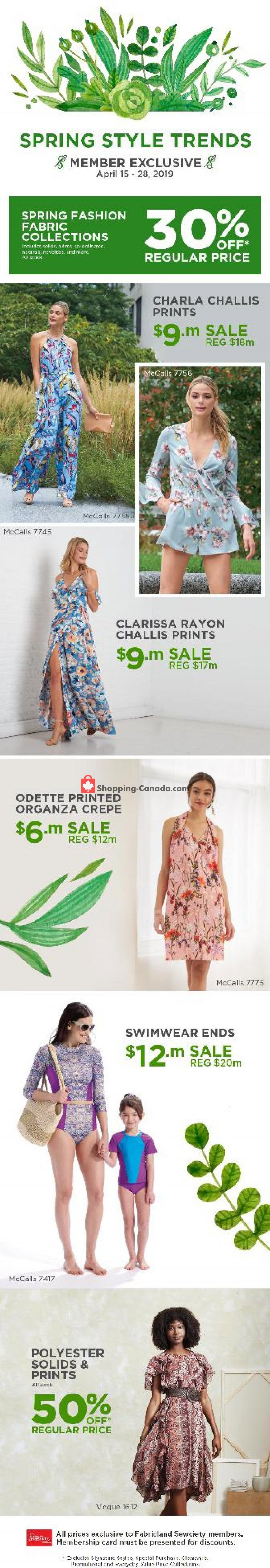 Flyer Fabricland Canada - from Monday April 15, 2019 to Sunday April 28, 2019