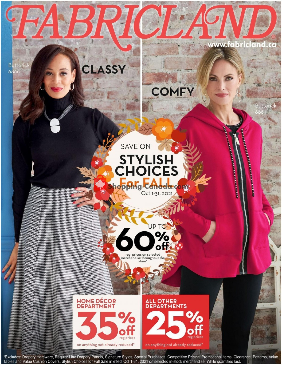 Flyer Fabricland Canada - from Friday October 1, 2021 to Sunday October 31, 2021