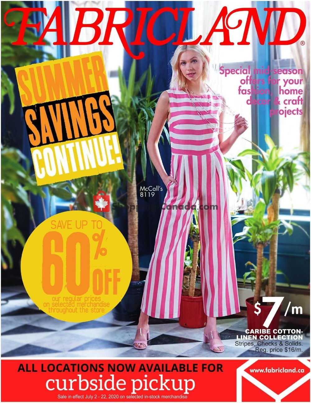 Flyer Fabricland Canada - from Thursday July 2, 2020 to Wednesday July 22, 2020