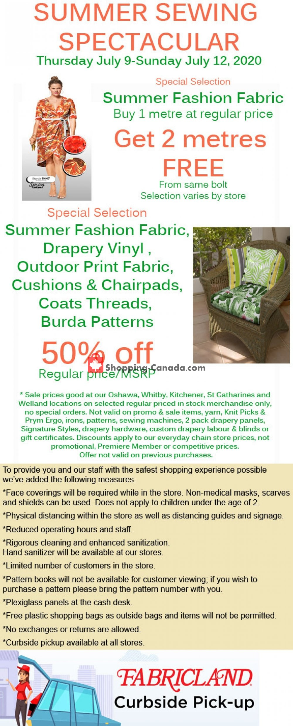 Flyer Fabricland Canada - from Thursday July 9, 2020 to Sunday July 12, 2020