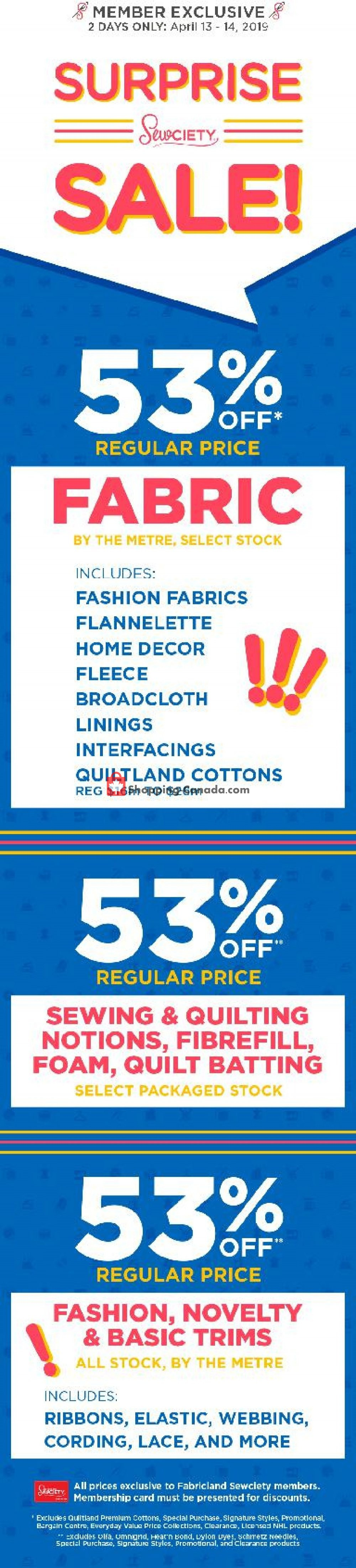 Flyer Fabricland Canada - from Saturday April 13, 2019 to Sunday April 14, 2019
