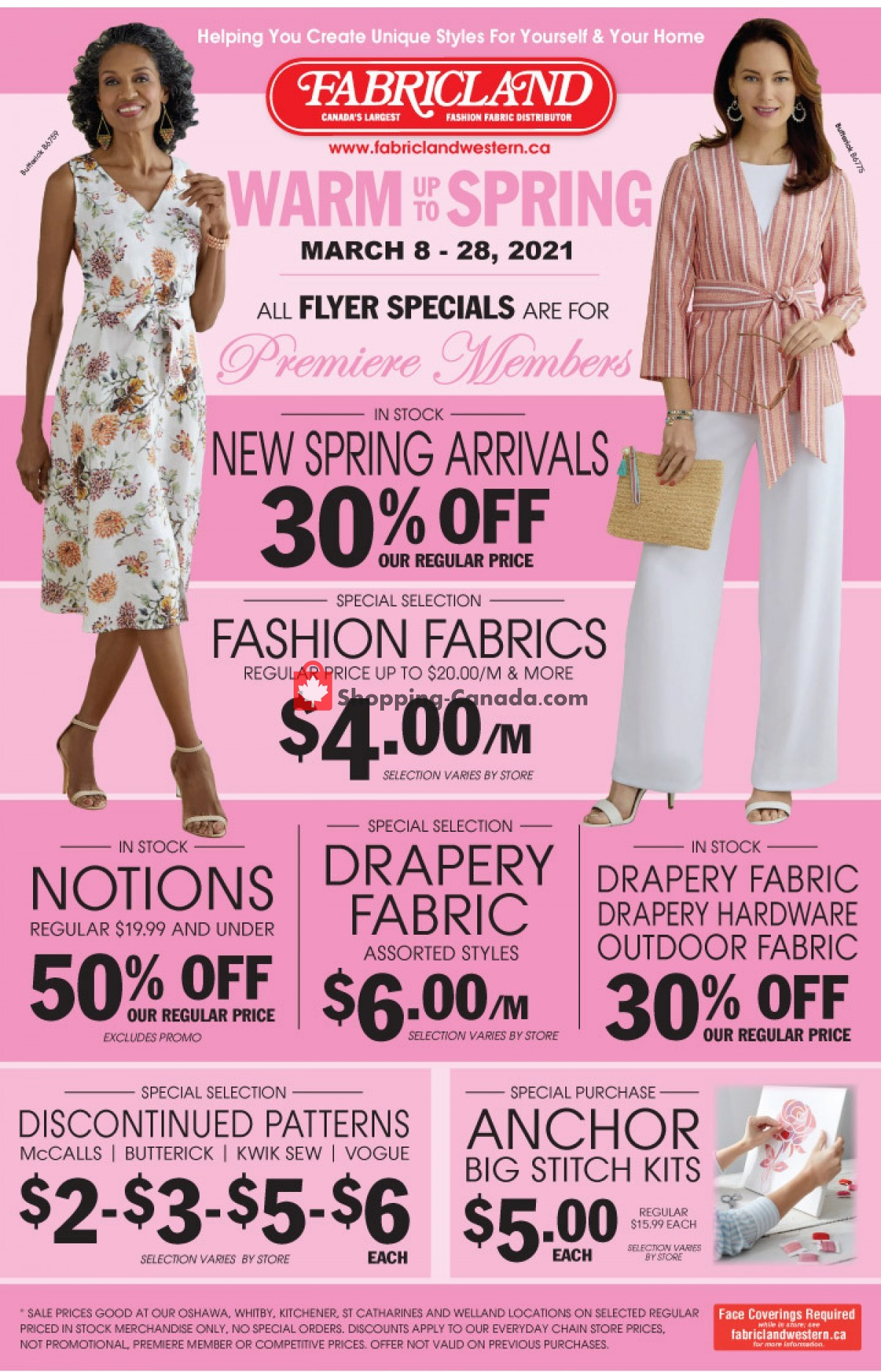 Flyer Fabricland Canada - from Monday March 8, 2021 to Sunday March 28, 2021