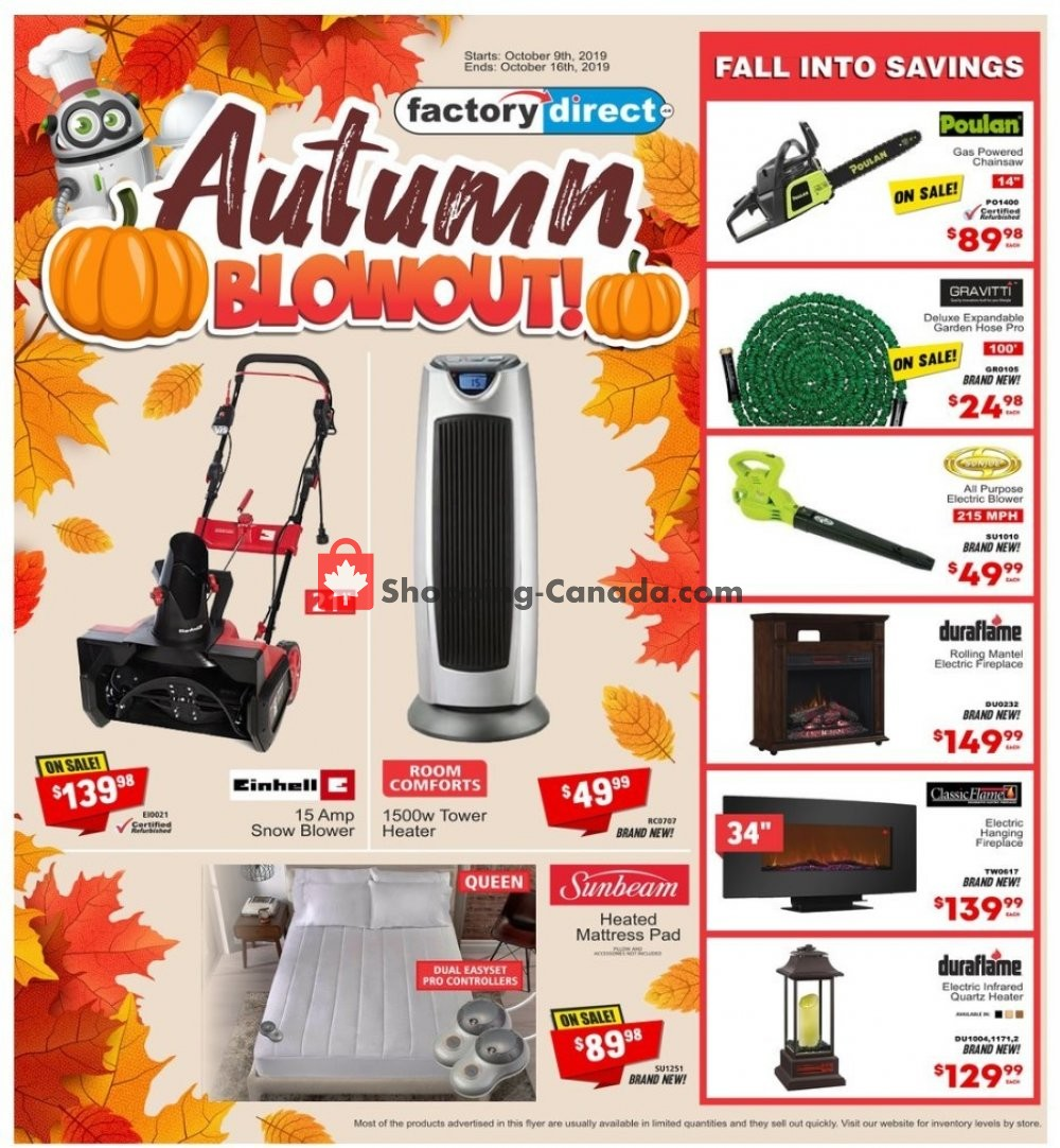 Flyer Factorydirect.ca Canada - from Wednesday October 9, 2019 to Wednesday October 16, 2019