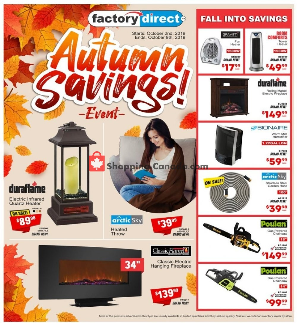 Flyer Factorydirect.ca Canada - from Wednesday October 2, 2019 to Wednesday October 9, 2019