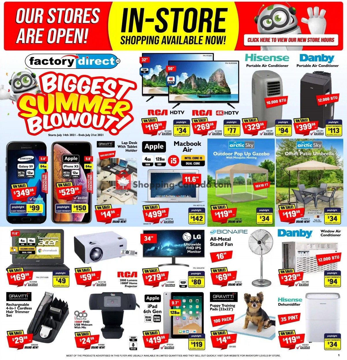 Flyer Factorydirect.ca Canada - from Wednesday July 14, 2021 to Wednesday July 21, 2021