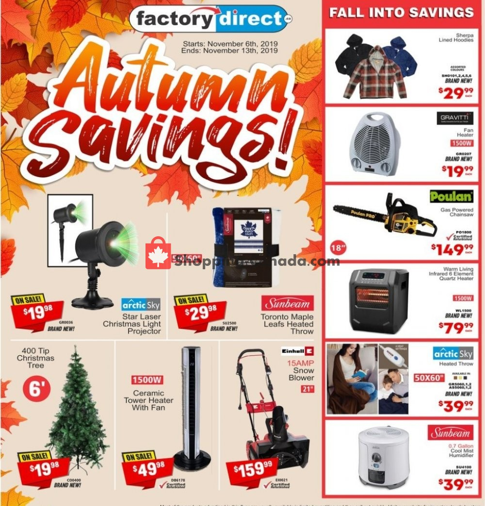 Flyer Factorydirect.ca Canada - from Wednesday November 6, 2019 to Wednesday November 13, 2019