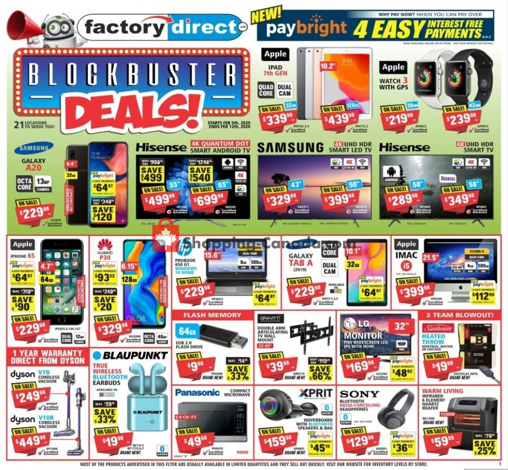 Flyer Factorydirect.ca Canada - from Wednesday February 5, 2020 to Wednesday February 12, 2020