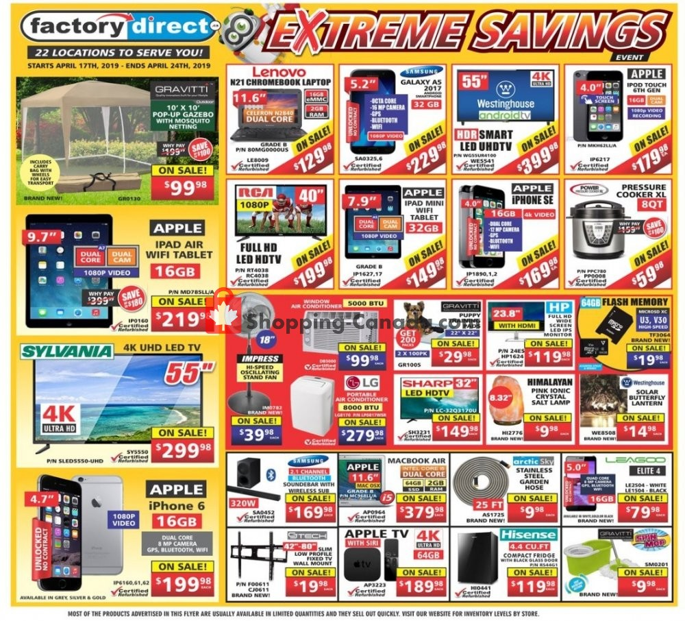 Flyer Factorydirect.ca Canada - from Wednesday April 17, 2019 to Wednesday April 24, 2019