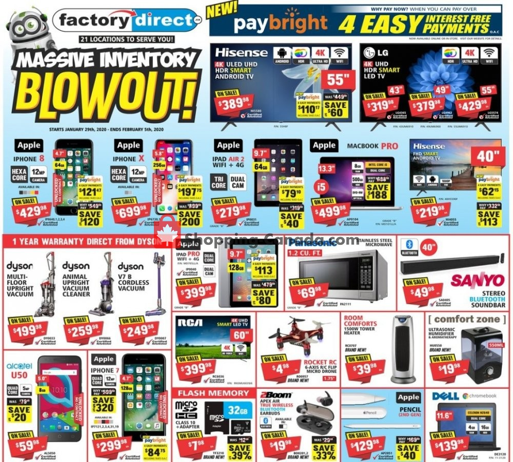 Flyer Factorydirect.ca Canada - from Wednesday January 29, 2020 to Wednesday February 5, 2020