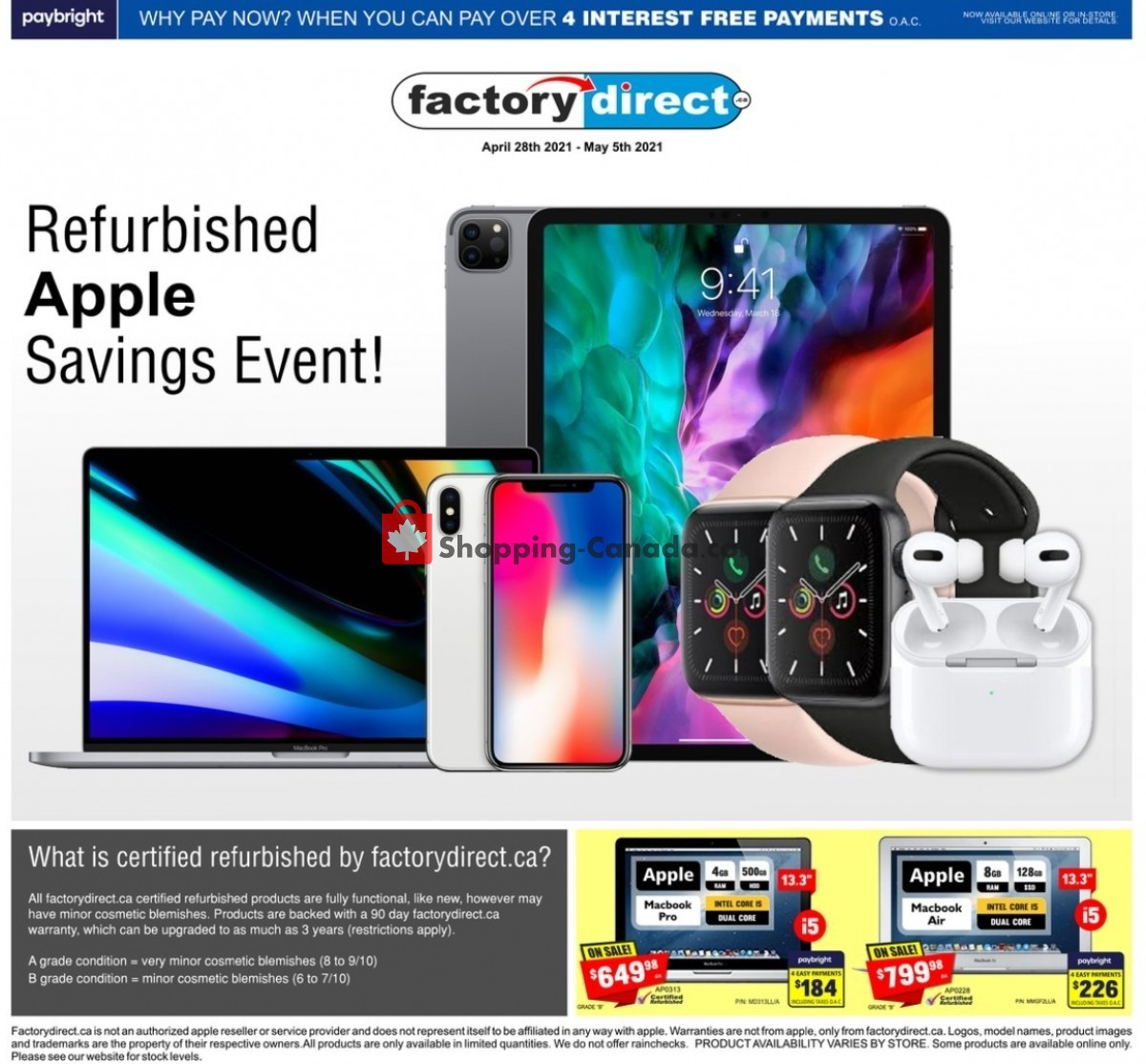 Flyer Factorydirect.ca Canada - from Wednesday April 28, 2021 to Wednesday May 5, 2021