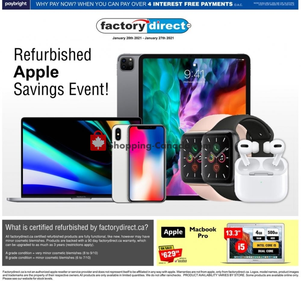 Flyer Factorydirect.ca Canada - from Wednesday January 20, 2021 to Wednesday January 27, 2021