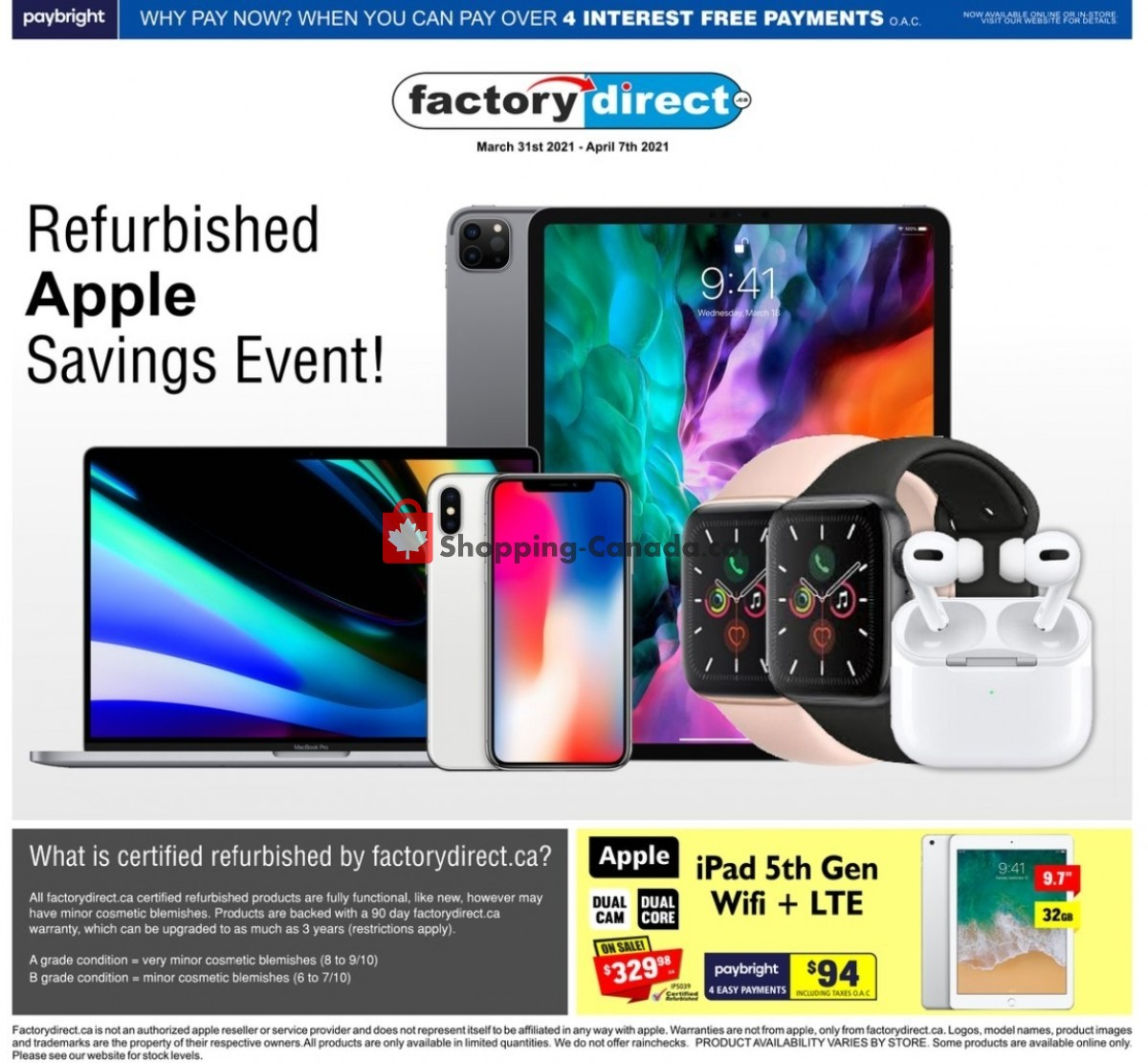 Flyer Factorydirect.ca Canada - from Wednesday March 31, 2021 to Wednesday April 7, 2021