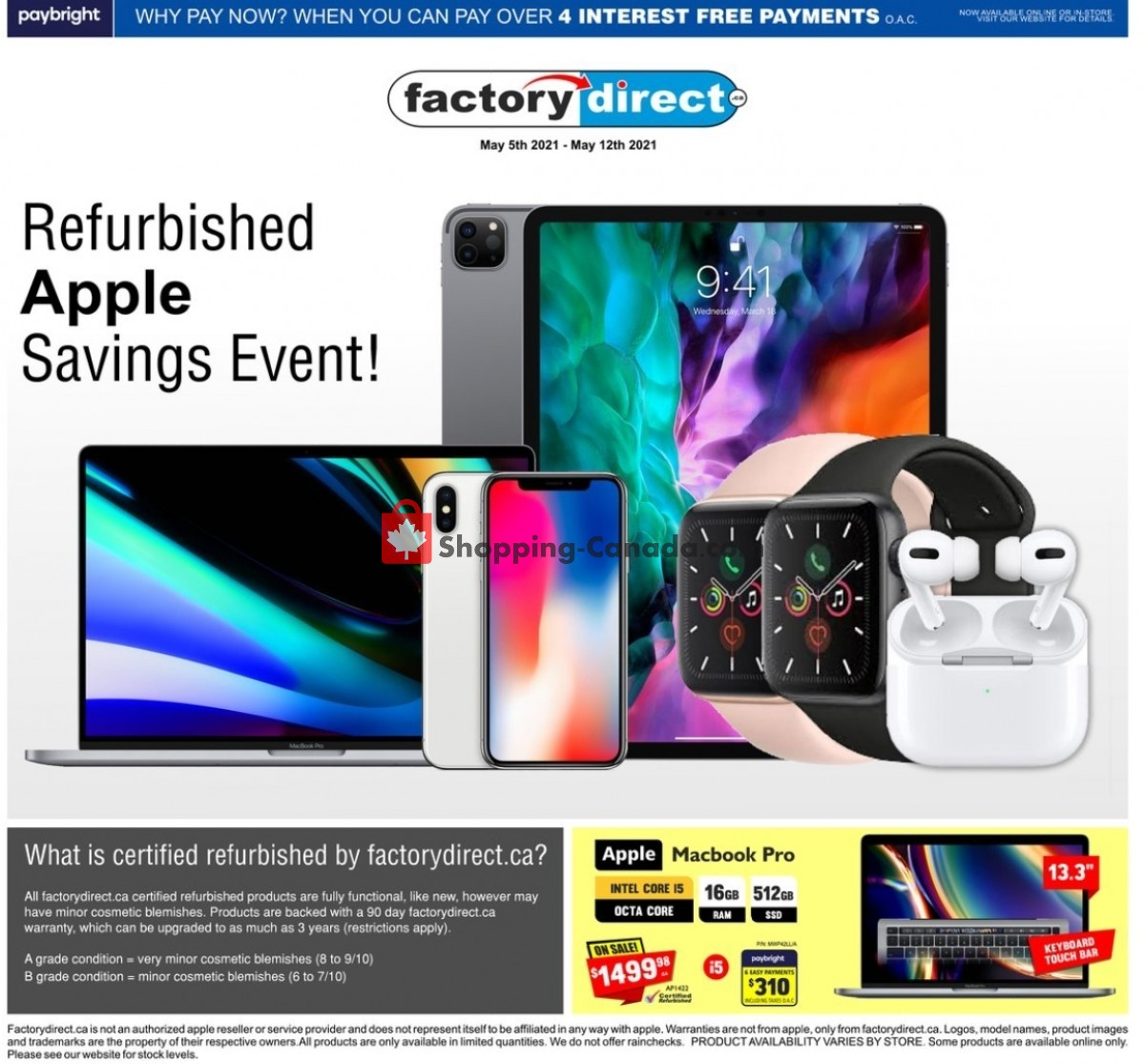 Flyer Factorydirect.ca Canada - from Wednesday May 5, 2021 to Wednesday May 12, 2021