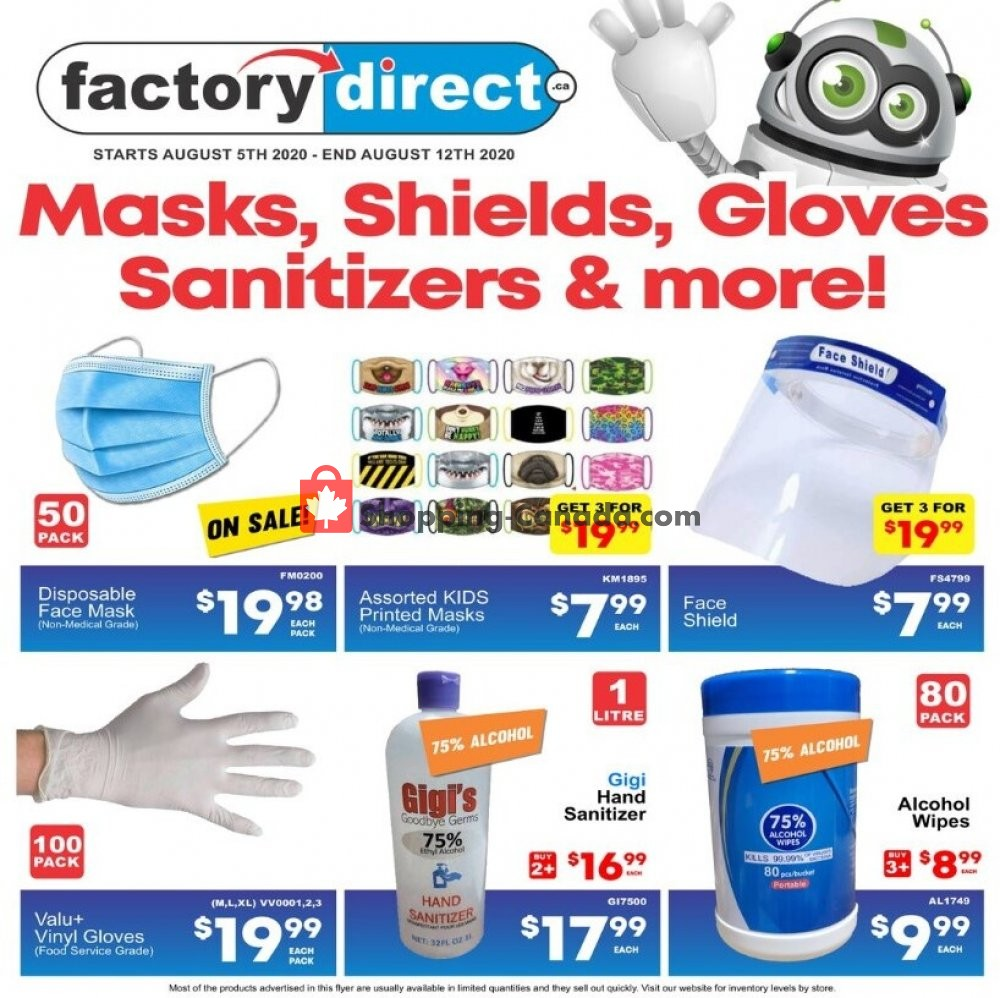 Flyer Factorydirect.ca Canada - from Wednesday August 5, 2020 to Wednesday August 12, 2020