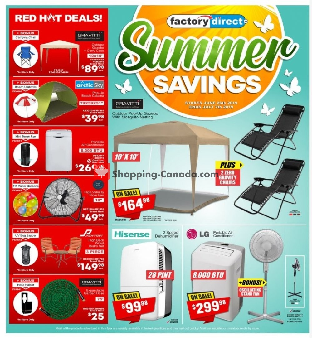 Flyer Factorydirect.ca Canada - from Wednesday June 26, 2019 to Sunday July 7, 2019