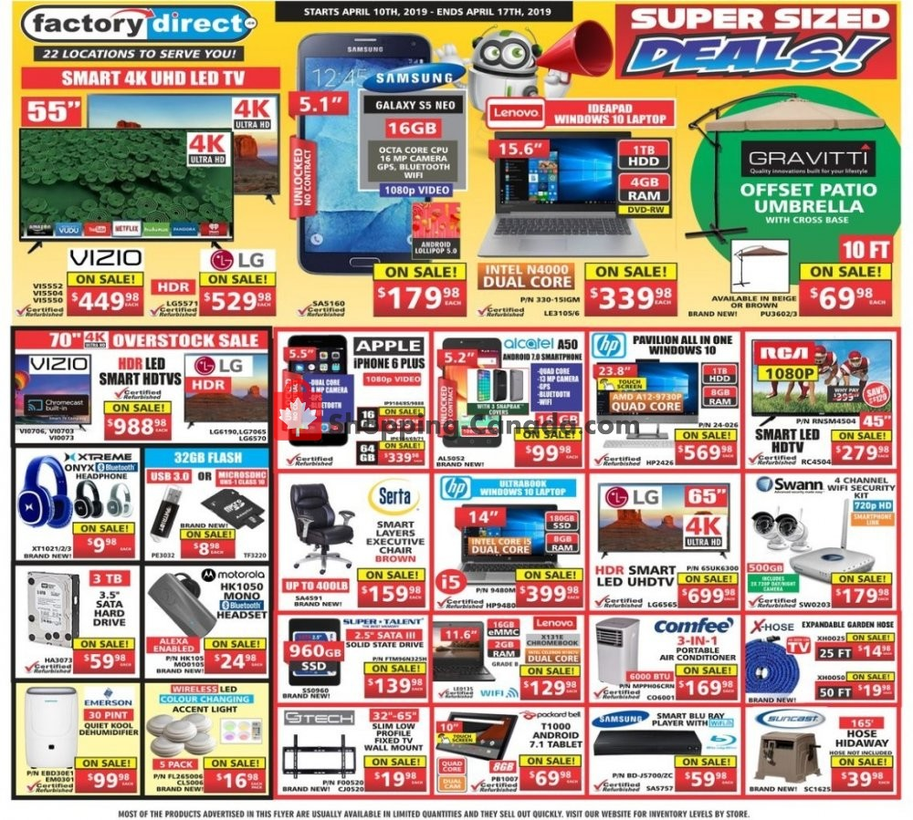 Flyer Factorydirect.ca Canada - from Wednesday April 10, 2019 to Wednesday April 17, 2019