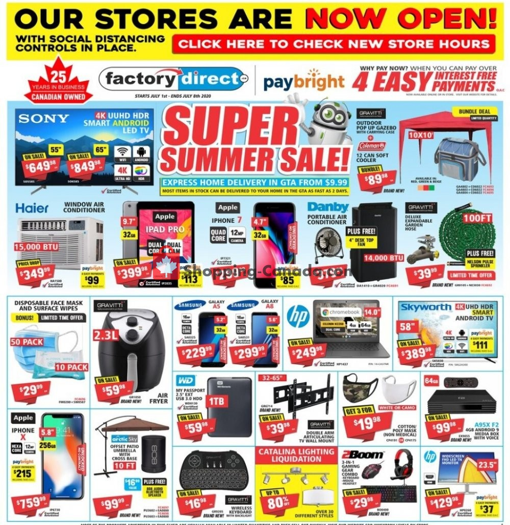 Flyer Factorydirect.ca Canada - from Wednesday July 1, 2020 to Wednesday July 8, 2020