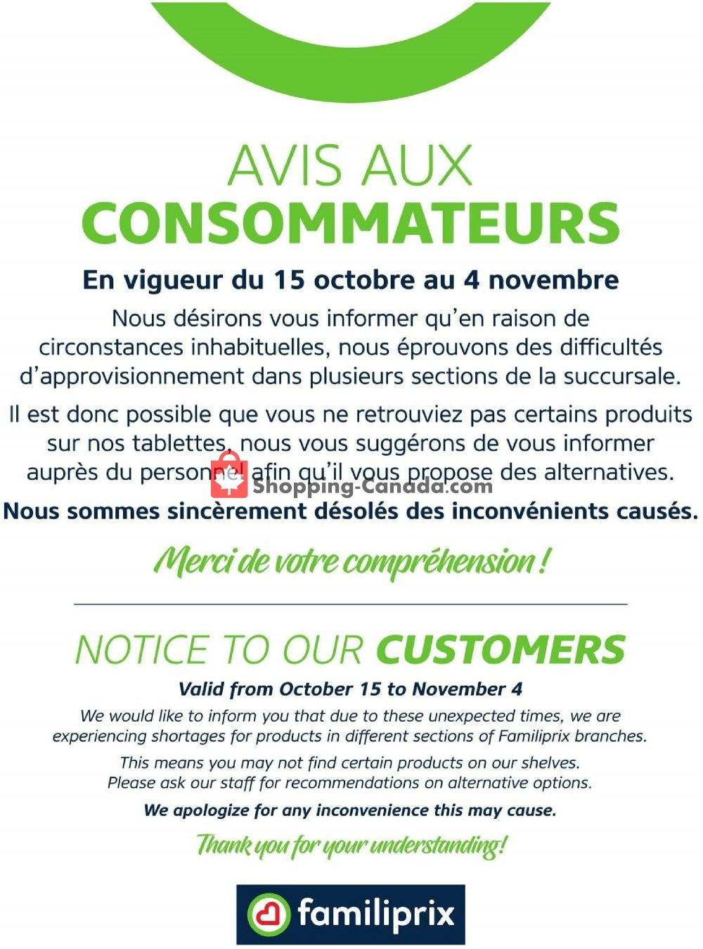 Flyer Familiprix Canada - from Thursday October 15, 2020 to Wednesday November 4, 2020