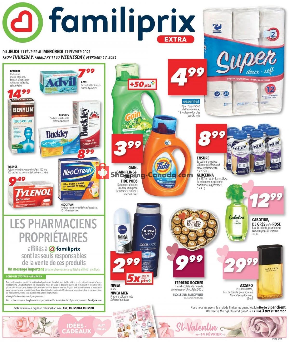 Flyer Familiprix Canada - from Thursday February 11, 2021 to Wednesday February 17, 2021