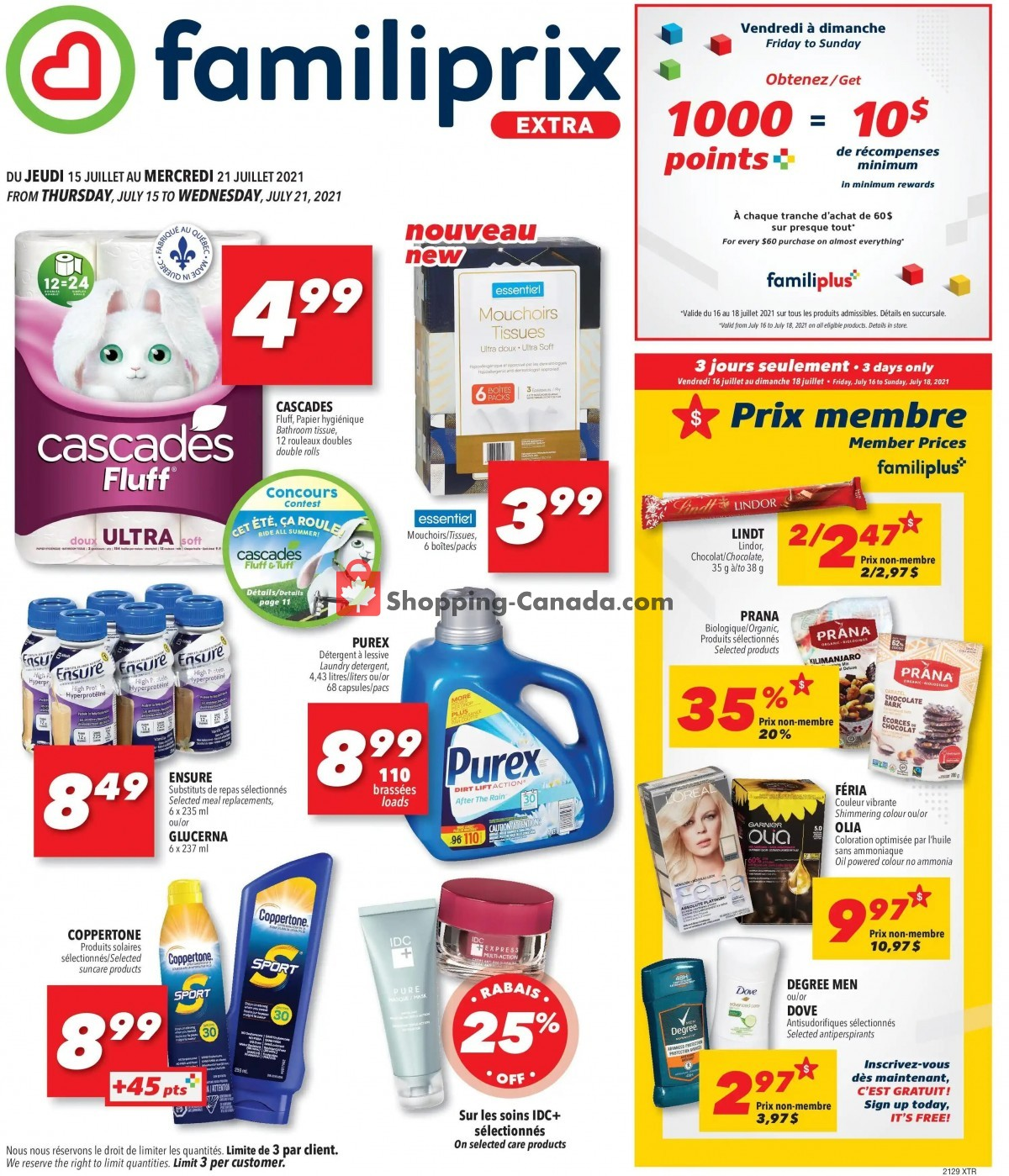 Flyer Familiprix Canada - from Thursday July 15, 2021 to Wednesday July 21, 2021