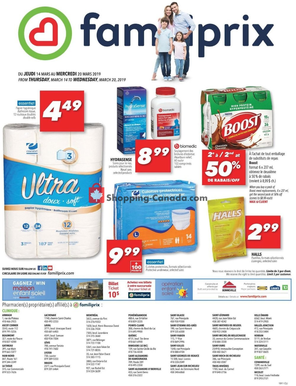 Flyer Familiprix Canada - from Thursday March 14, 2019 to Wednesday March 20, 2019