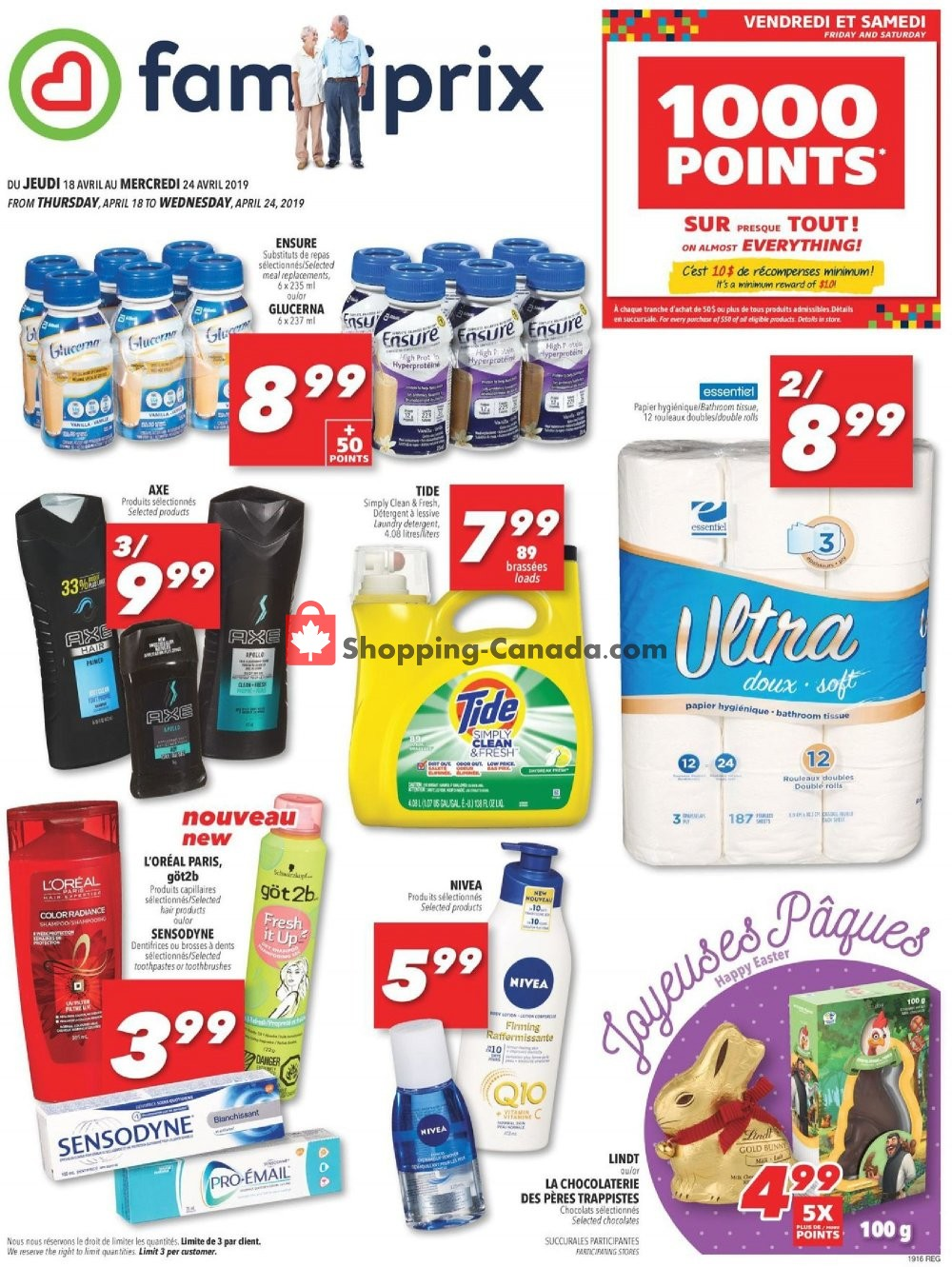 Flyer Familiprix Canada - from Thursday April 18, 2019 to Wednesday April 24, 2019