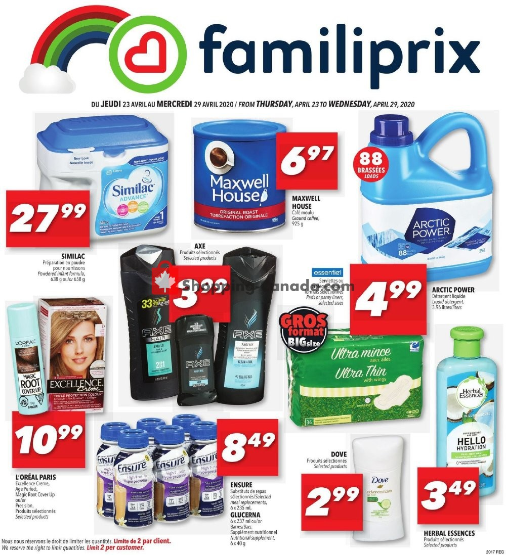 Flyer Familiprix Canada - from Thursday April 23, 2020 to Wednesday April 29, 2020