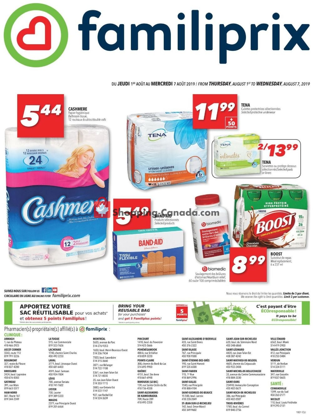 Flyer Familiprix Canada - from Thursday August 1, 2019 to Wednesday August 7, 2019