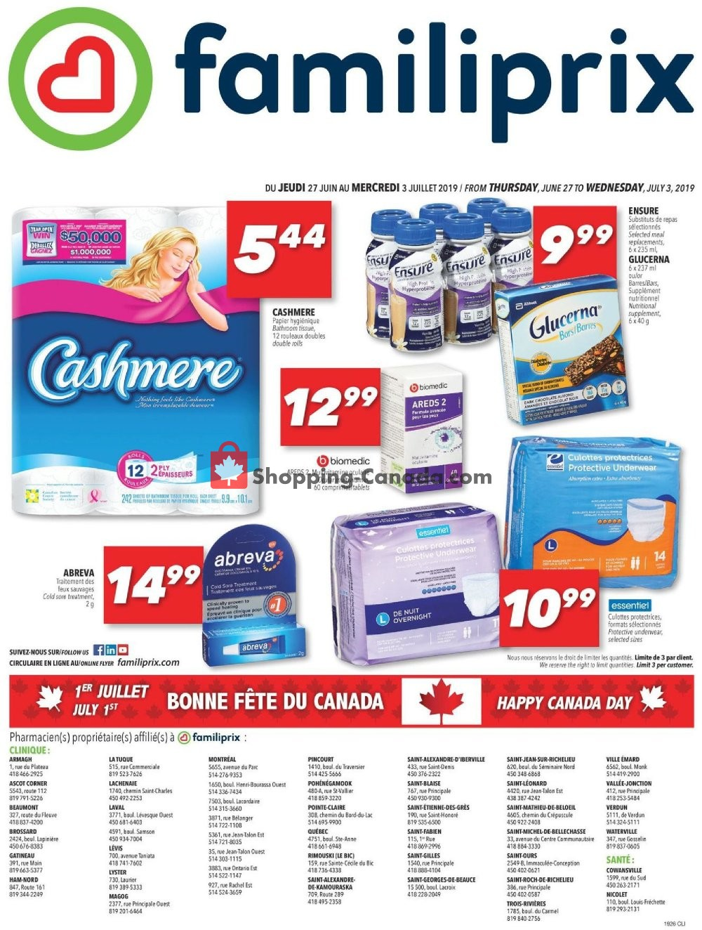 Flyer Familiprix Canada - from Thursday June 27, 2019 to Wednesday July 3, 2019
