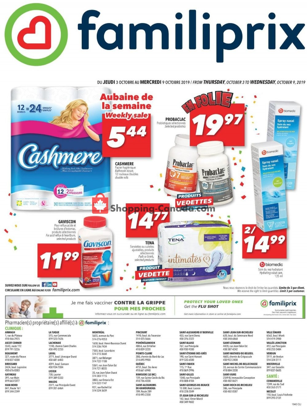 Flyer Familiprix Canada - from Thursday October 3, 2019 to Wednesday October 9, 2019