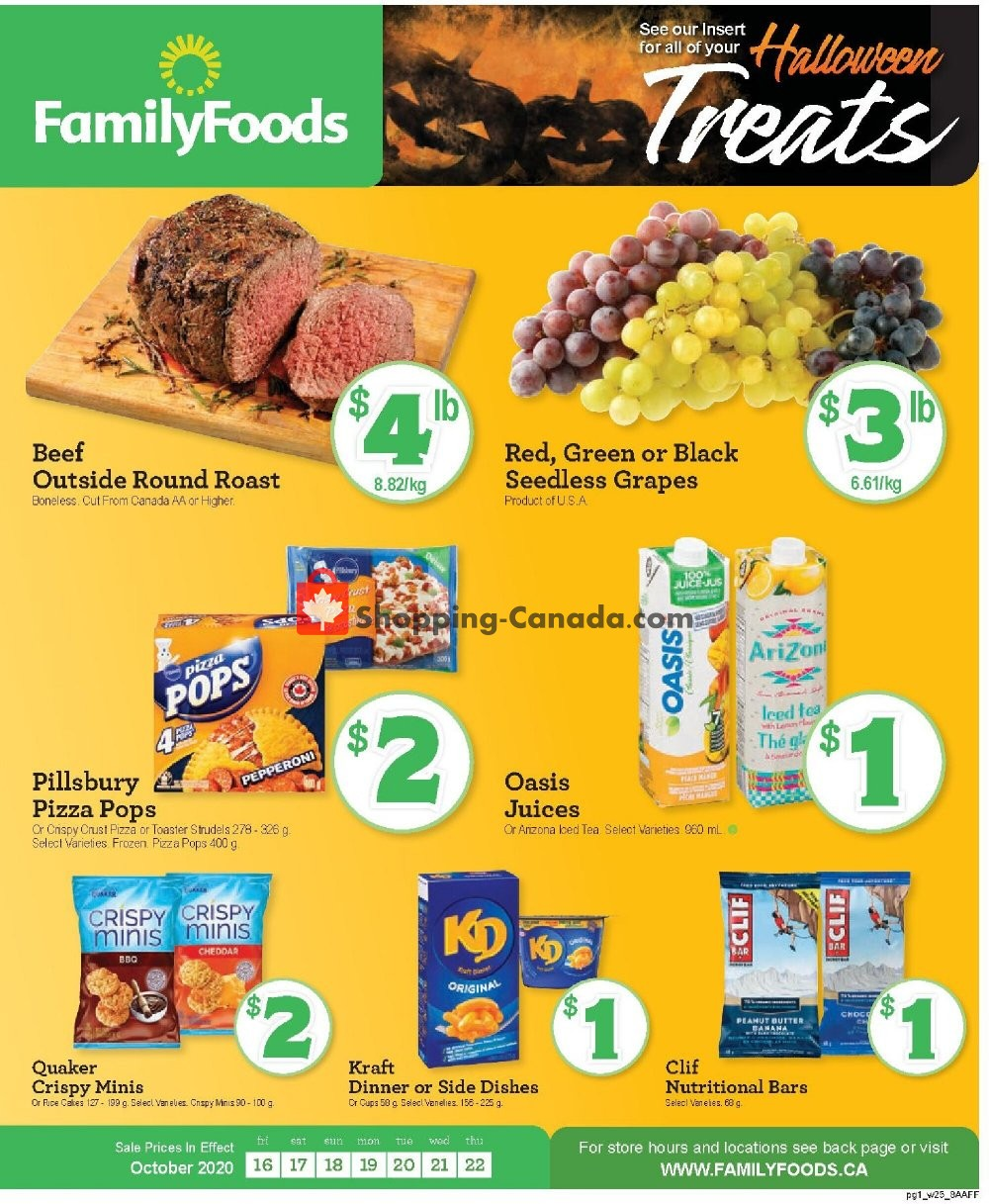 Flyer Family Foods Canada - from Friday October 16, 2020 to Thursday October 22, 2020