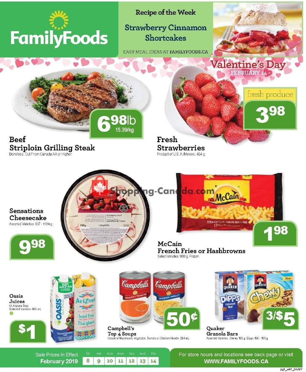 Flyer Family Foods Canada - from Friday February 8, 2019 to Thursday February 14, 2019