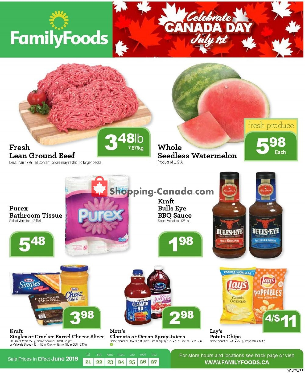 Flyer Family Foods Canada - from Friday June 21, 2019 to Thursday June 27, 2019
