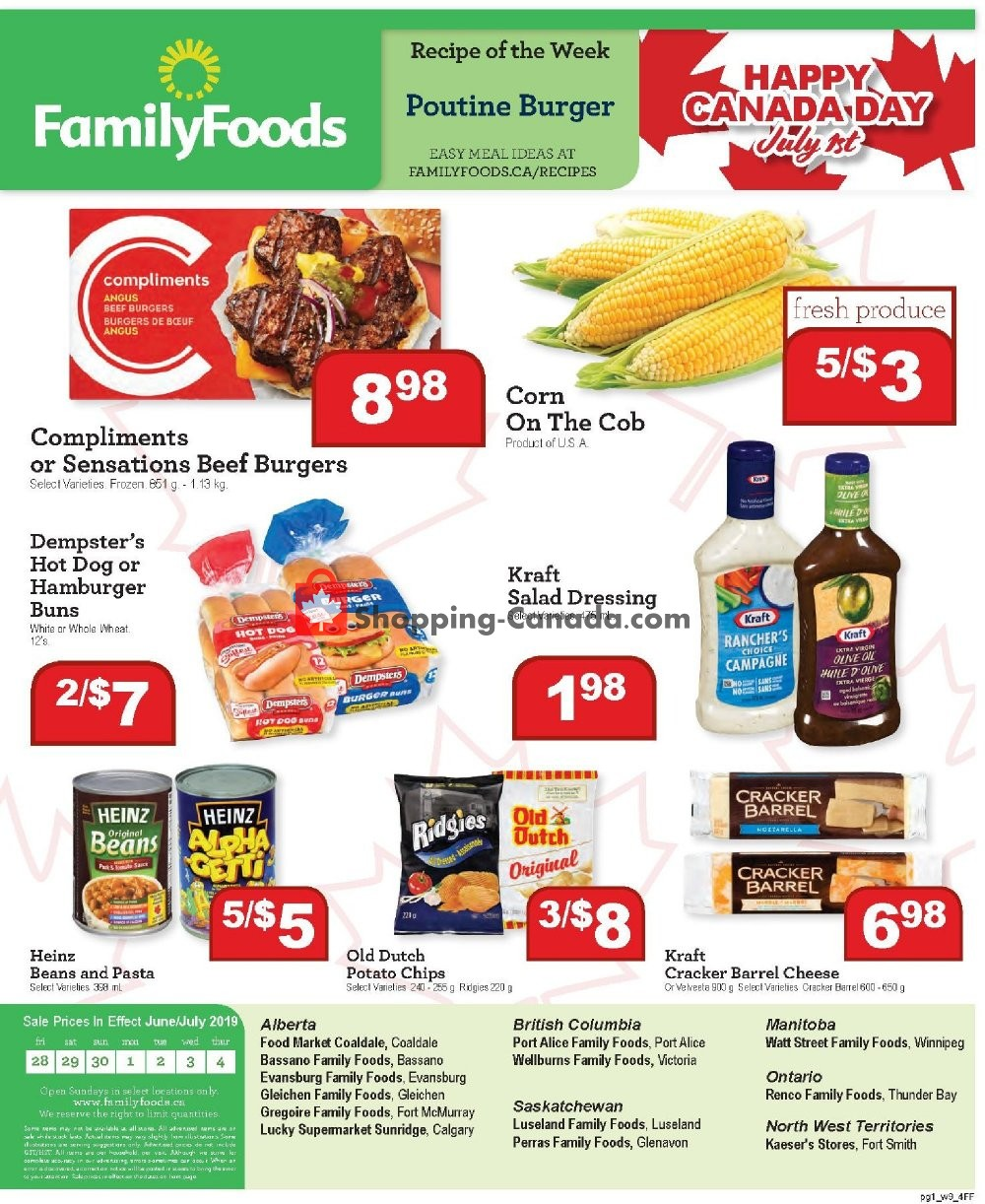 Flyer Family Foods Canada - from Friday June 28, 2019 to Thursday July 4, 2019