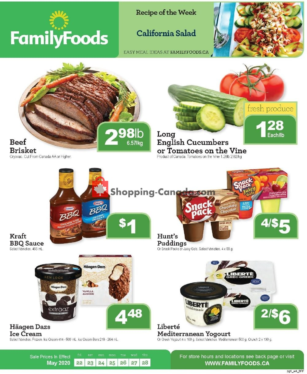 Flyer Family Foods Canada - from Friday May 22, 2020 to Thursday May 28, 2020