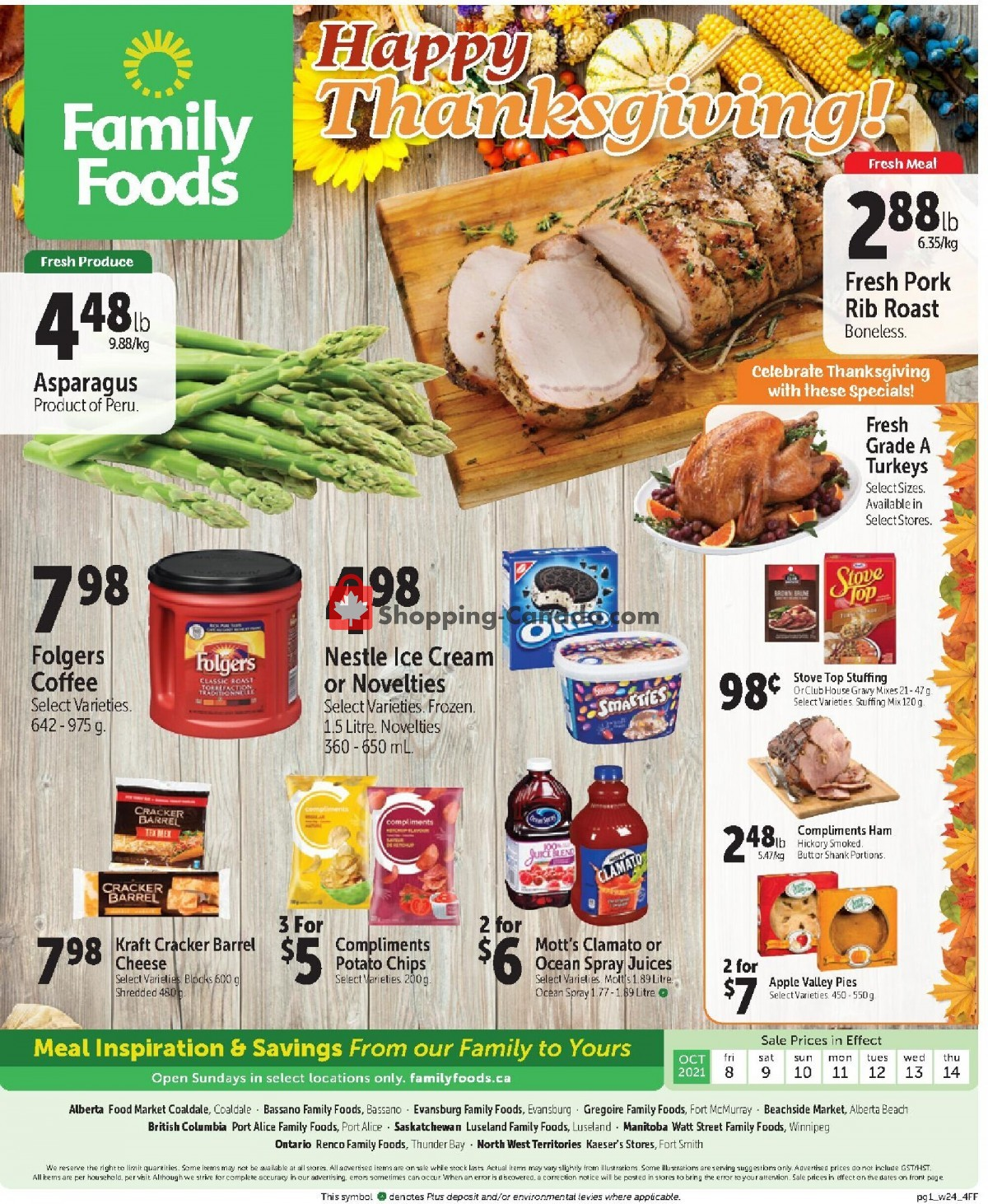 Flyer Family Foods Canada - from Friday October 8, 2021 to Thursday October 14, 2021