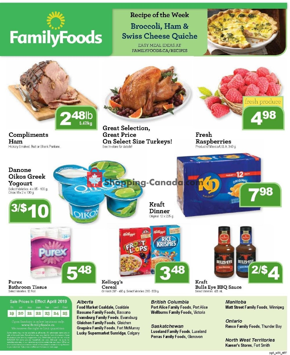 Flyer Family Foods Canada - from Friday April 19, 2019 to Thursday April 25, 2019