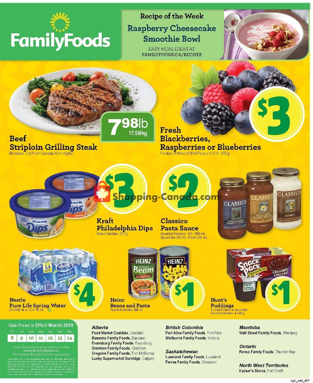 Flyer Family Foods Canada - from Friday March 8, 2019 to Thursday March 14, 2019
