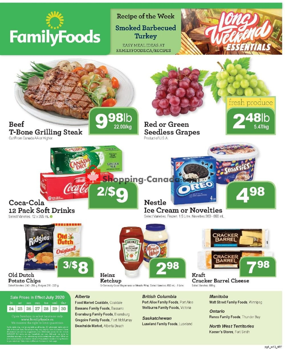 Flyer Family Foods Canada - from Friday July 24, 2020 to Thursday July 30, 2020