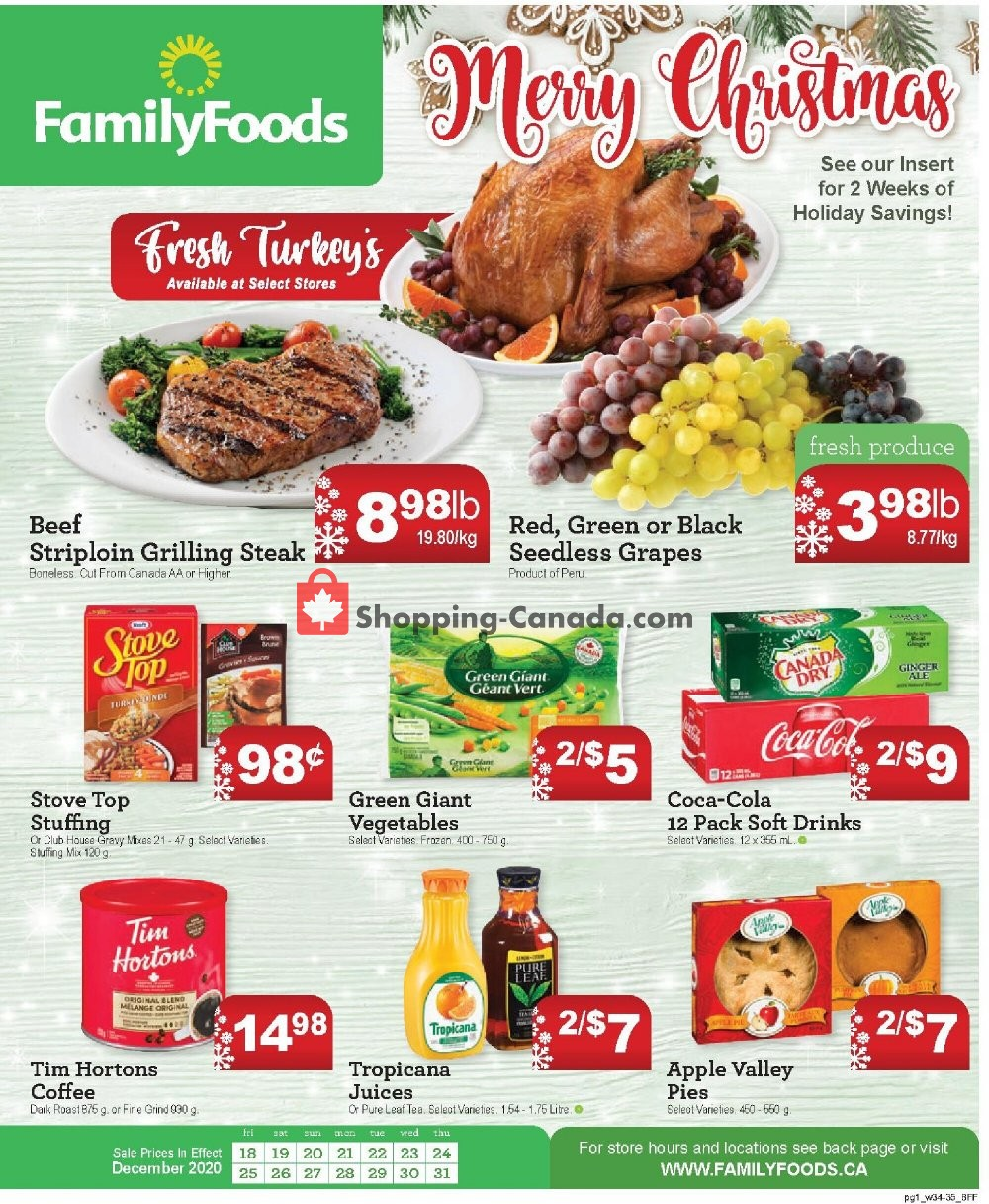 Flyer Family Foods Canada - from Friday December 18, 2020 to Thursday December 31, 2020