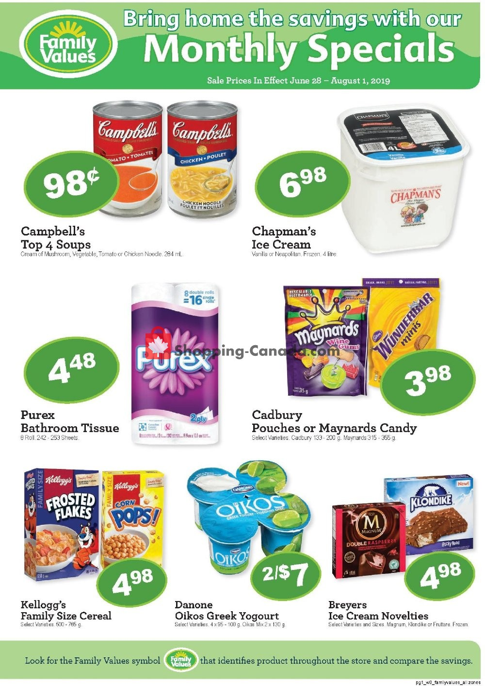 Flyer Family Foods Canada - from Friday June 28, 2019 to Thursday August 1, 2019