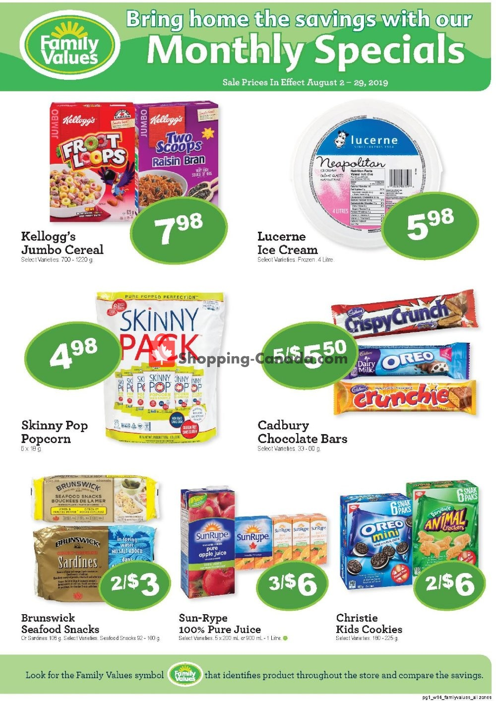 Flyer Family Foods Canada - from Friday August 2, 2019 to Thursday August 29, 2019