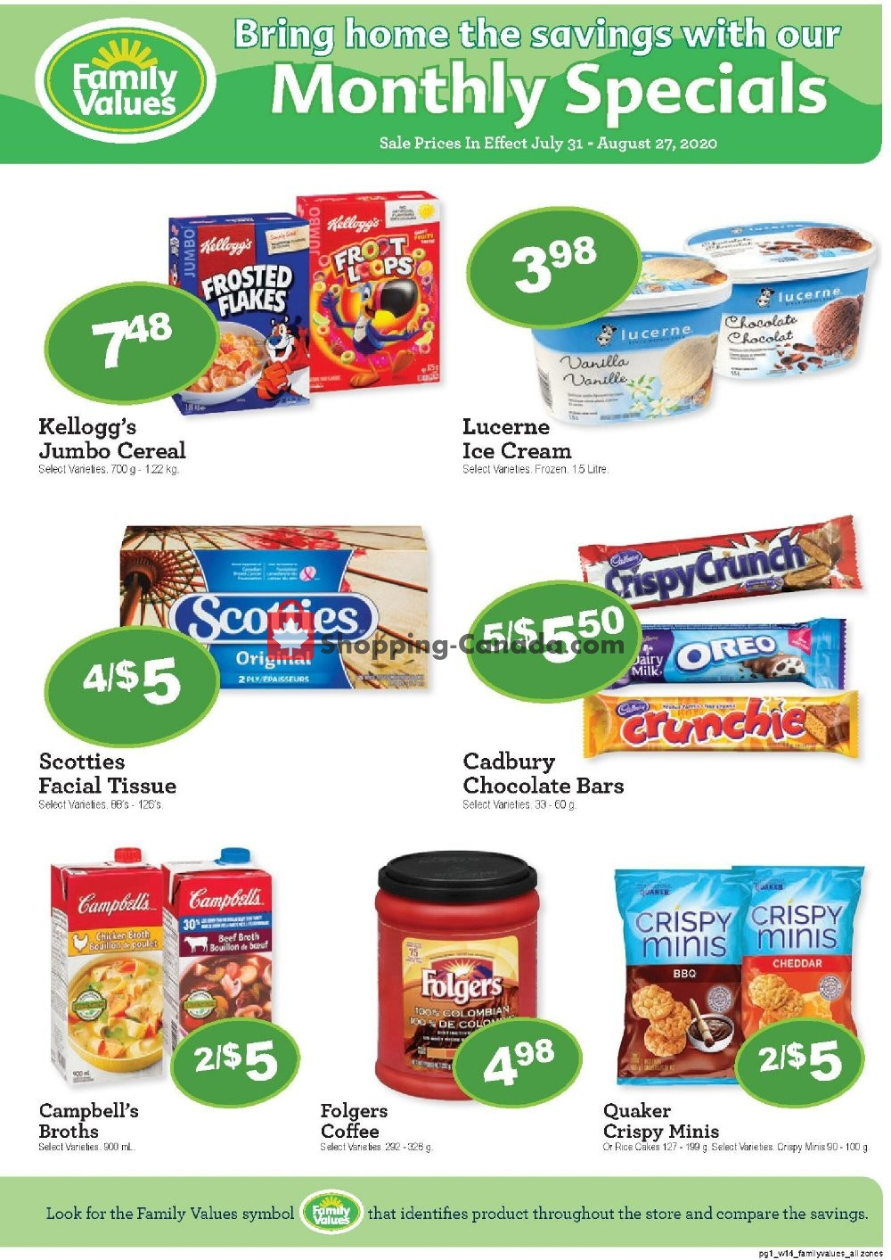 Flyer Family Foods Canada - from Friday July 31, 2020 to Thursday August 27, 2020