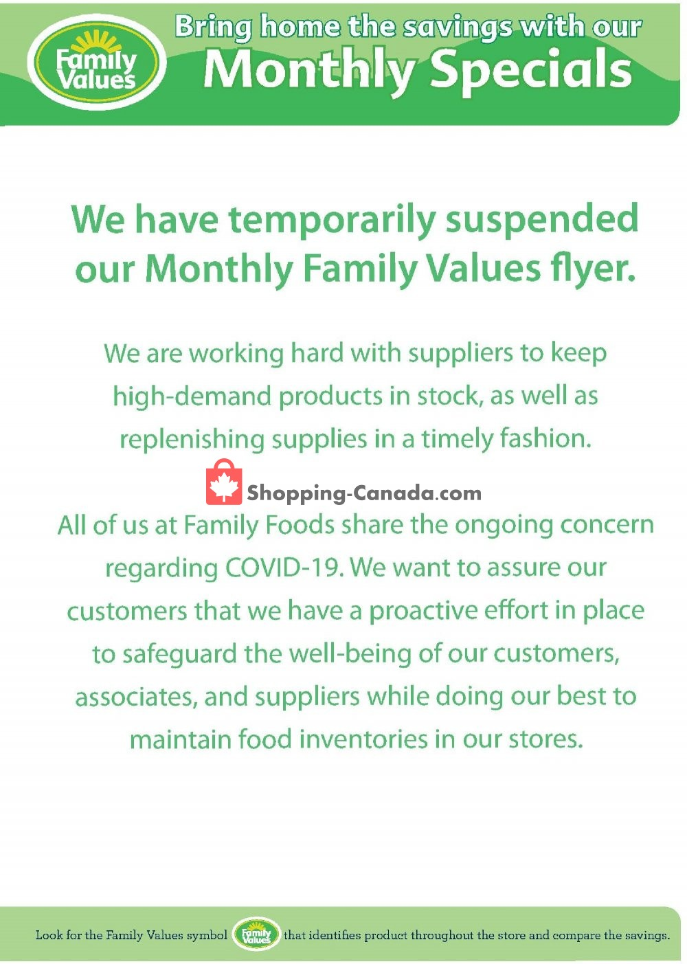 Flyer Family Foods Canada - from Monday June 1, 2020 to Tuesday June 30, 2020
