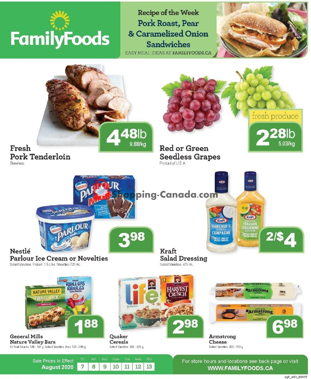 Flyer Family Foods Canada - from Friday August 7, 2020 to Thursday August 13, 2020